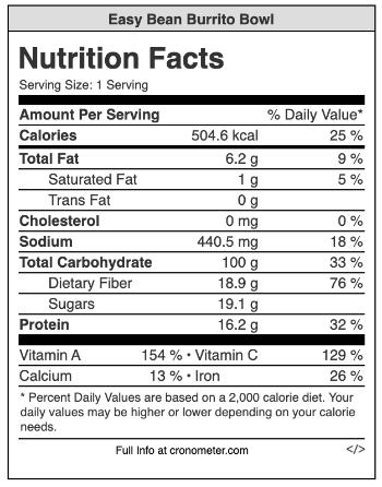 easy bean burrito bowl nutritional info.