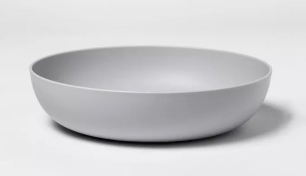 an empty grey plastic bowl from target.