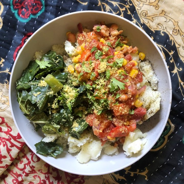 quick spicy bean and potato bowl.