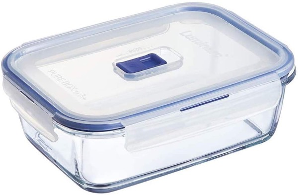 glass food container with a sliding vent in the lid.